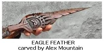 Alex Mountain carving - feather in wood