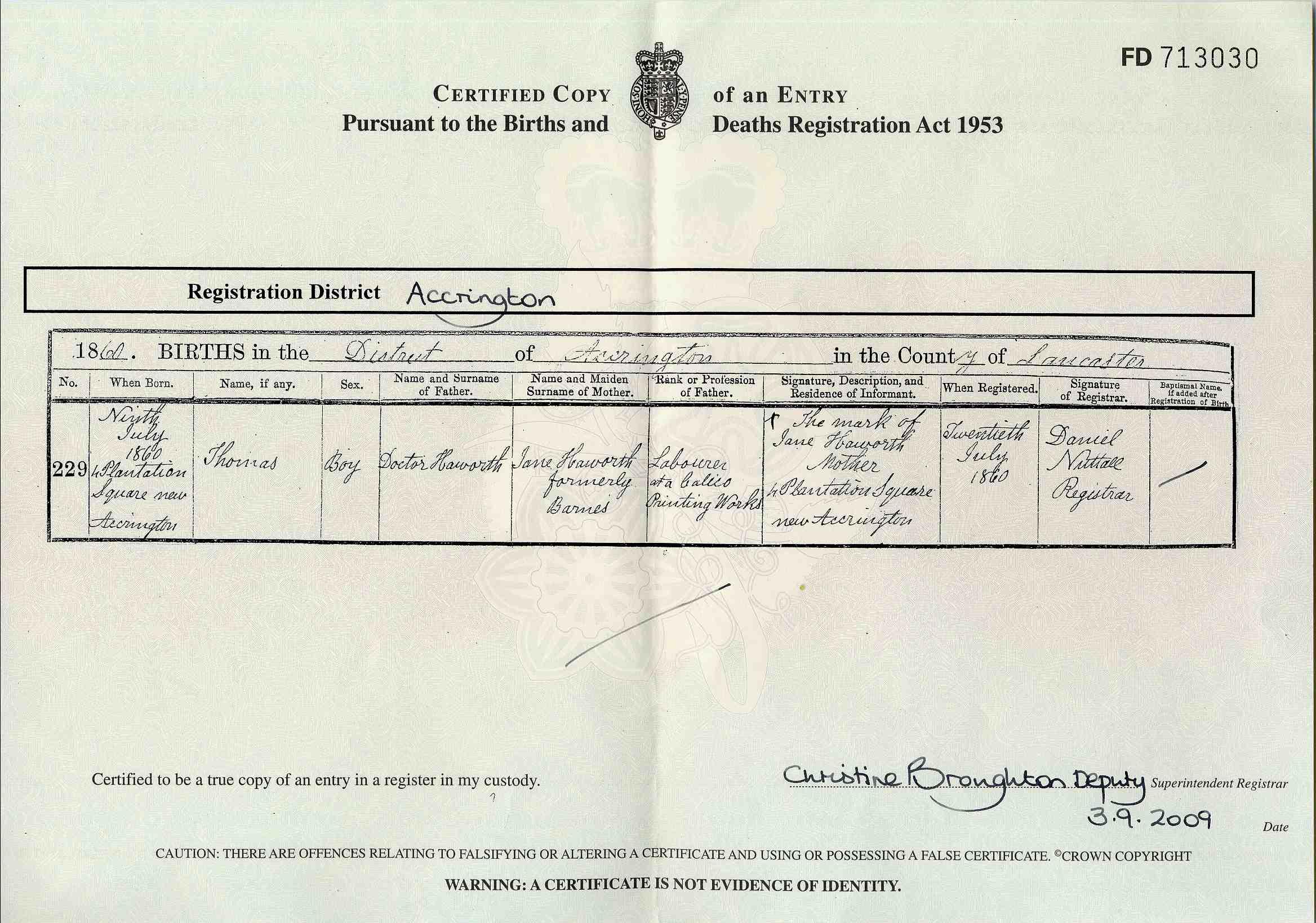 British birth certificate