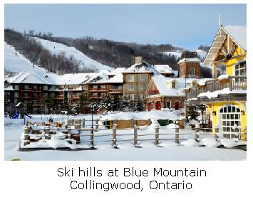 Blue Mountain resort in the snow, Collingwood, Ontario