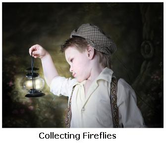 Little boy wearing a hat with fireflies in a jar