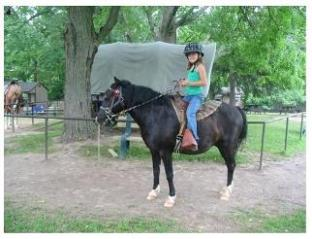 black horse with young rider and tent in background