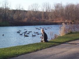 Watching the geese in Waterworks Park, St Thomas