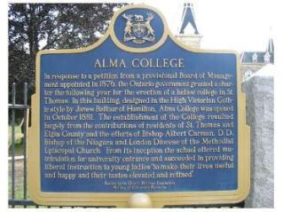 Alma College, St Thomas, Ontario