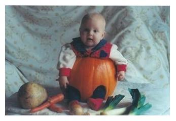 baby Becky in halloween pumpkin