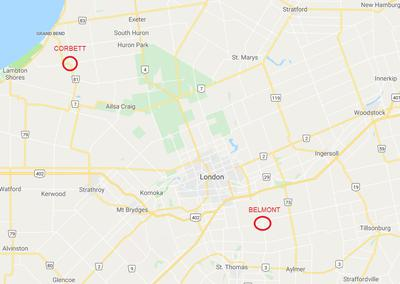 Map showing big cat sightings near London, Ontario