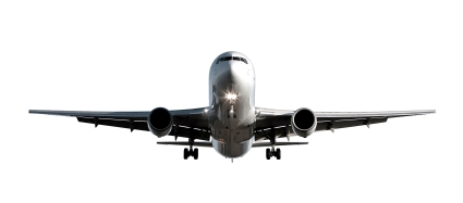 airplane flying into international airport white background