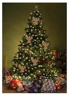 Canadian Christmas Tree with lights and decorations and gifts