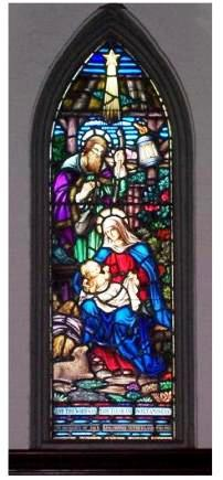 Virgin Mary with baby Jesus, Stained Glass Church window, St Thomas Ontario