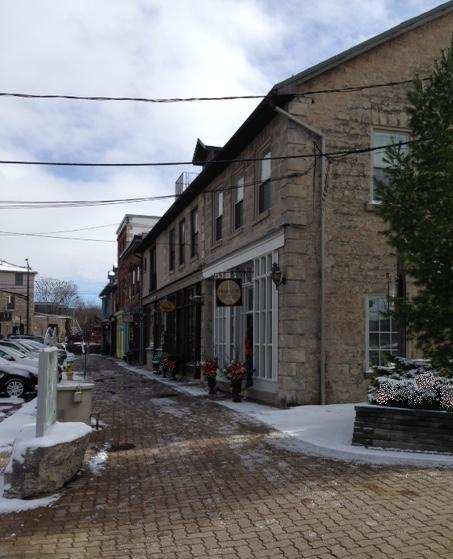 The village of Elora, Ontario, Canada, row of houses and shops