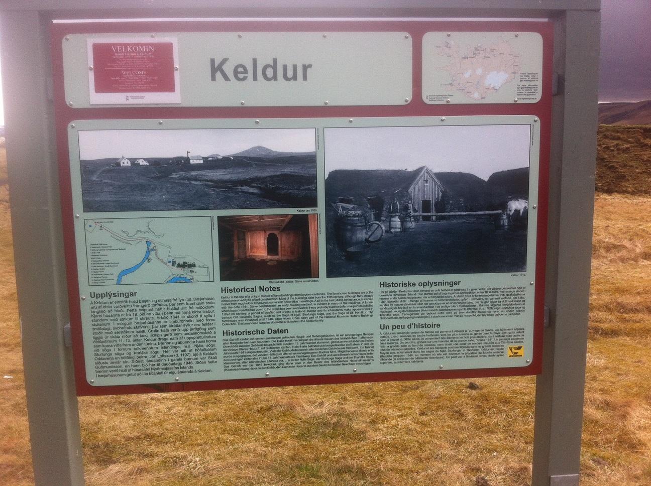 Keldur information sign, Iceland