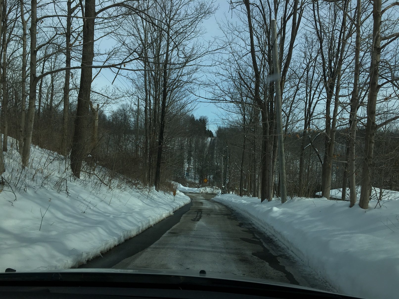 the driveway down to our house in winter, Beck Line, St Thomas