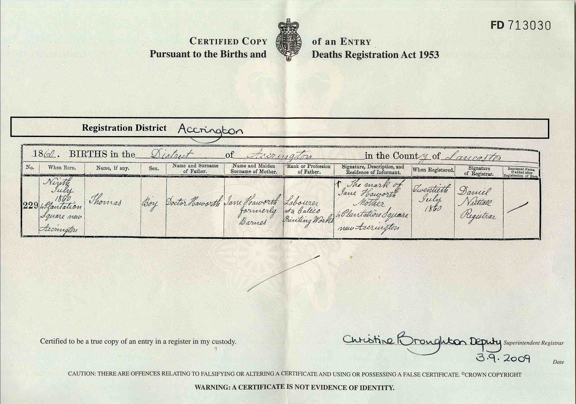 British birth certificate