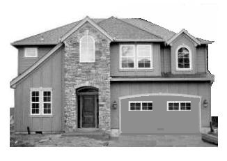 brand new single family home in Ontario, Canada, black and white picture