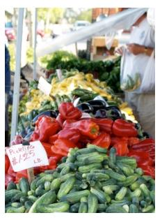 Vegetables stand at St Jacobs market