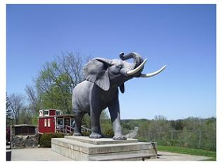 Discover Southern Ontario, statue of Jumbo the elephant in St Thomas